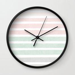 Gender neutral stripes mint pastel pink grey striped pattern nursery art Wall Clock