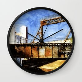 Railway Bridge Five Roses reflected II Wall Clock