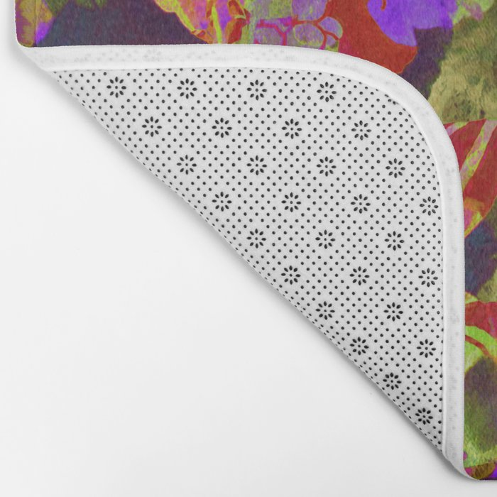 colorful floral with purple accent Bath Mat