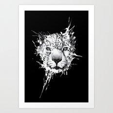 Leopard on black background Art Print