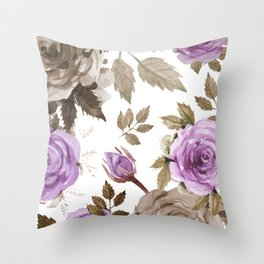 FLOWERS WATERCOLOR 9 Throw Pillow