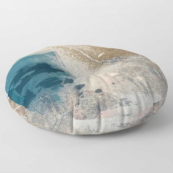 Embrace: a minimal, abstract mixed-media piece in blues and gold with a hint of pink Floor Pillow