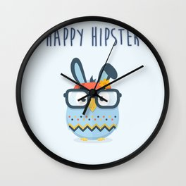 Happy Hipster Easter Wall Clock