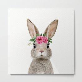 Baby Rabbit with Flower Crown Metal Print