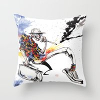 hunter s thompson Throw Pillows featuring Hunter S Thompson by BINDU by BINDU