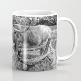 Texas Longhorn Steer by an Old Wooden Fence in Black and White Coffee Mug