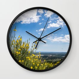 Yellow flowers with in the background the olive trees plain in front of Ostuni Wall Clock