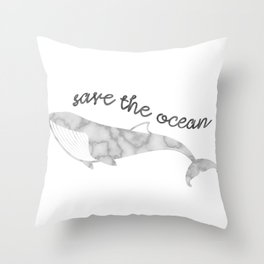 Save The Ocean - Marble Whale Throw Pillow