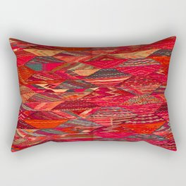 V35 Red Traditional Moroccan Artwork Pattern Rectangular Pillow
