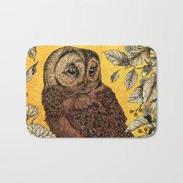 Tawny Owl Yellow Bath Mat