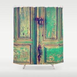 old wood vintage door Shower Curtain