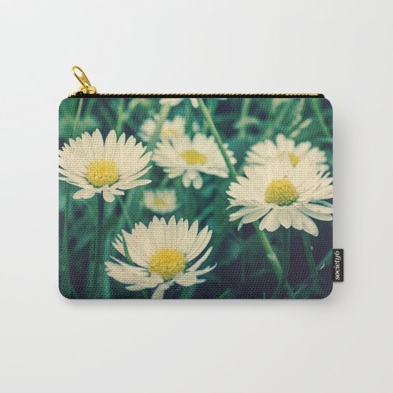 Spring Blooming White Daisies and Lady Bird Johnson Quote Carry-All Pouch