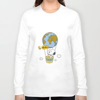 snoopy Long Sleeve T-shirts featuring ADVENTUROUS SNOOPY by Yildiray Atas