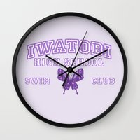 iwatobi Wall Clocks featuring Iwatobi - Betterfly by drawn4fans