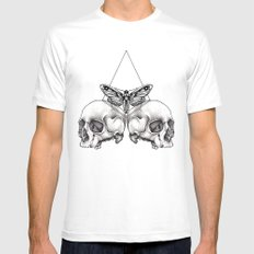 Skull moth MEDIUM Mens Fitted Tee White