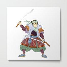 Samurai Warrior Fighting Stance Mono Line Metal Print