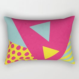 Pink Turquoise Geometric Pattern in Pop Art, Retro, 80s Style Rectangular Pillow
