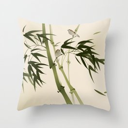 Oriental style painting, bamboo branches Throw Pillow