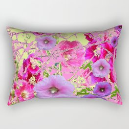 CONTEMPORARY PINK & LILAC HOLLYHOCKS ART Rectangular Pillow