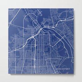 Shreveport Map, USA - Blue Metal Print