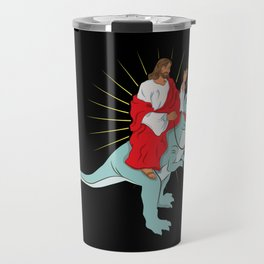 Jesus Riding A Dinosaurs Rex Gift Travel Mug