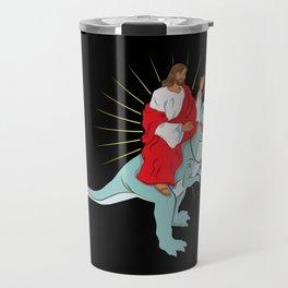 Jesus Riding A Dinosaurs Rex Gift Travel Mug