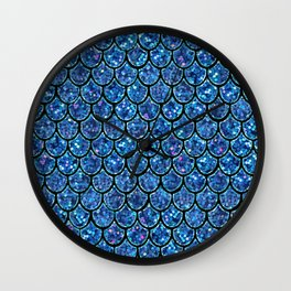 Sparkly Turquoise & Blue & Glitter Mermaid Scales Wall Clock