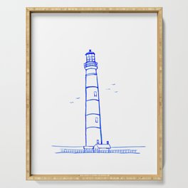 Lighthouse Watercolor Line Drawing Serving Tray