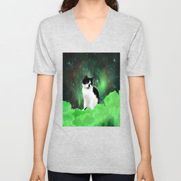 Gypsy Da Fleuky Cat and the Kitty Emerald Night Unisex V-Neck