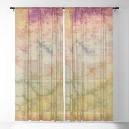 Marigold, Magenta and Sage - Tilted Sheer Curtain