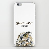 Grow Wise Little Owl Nursery Animals Art Great Horned Owl iPhone & iPod Skin