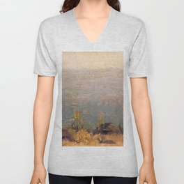 Canyon Scene with Aloes landscape painting by J.H. Pierneef Unisex V-Neck