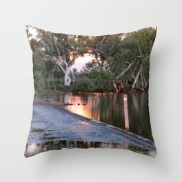Shaw River Flooded Sunset Throw Pillow
