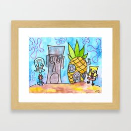 Who Lives in a Pineapple Under the Sea?! Framed Art Print