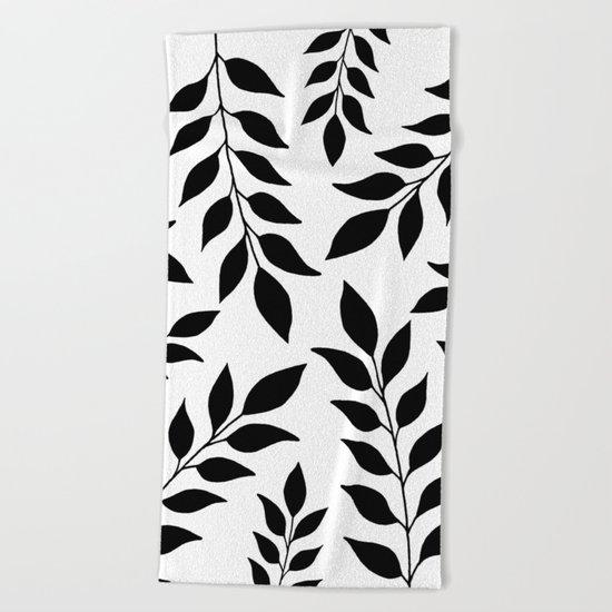 Black Leaves Pattern Beach Towel