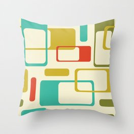 Mid-Century Modern / Space-Age Geometrics in Bright Colors Throw Pillow