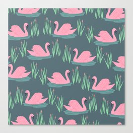Pink Swans Canvas Print
