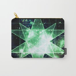 Sacred Geometry Green Midnight Blue Galaxy Carry-All Pouch
