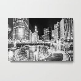 Chicago Cityscape Downtown City River in Black and White Metal Print