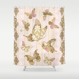 Fairytale Butterflies rose-gold-cream Shower Curtain