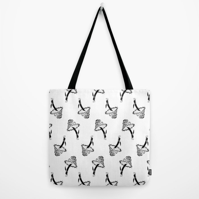 A Pattern of Mushrooms, Black and White Tote Bag