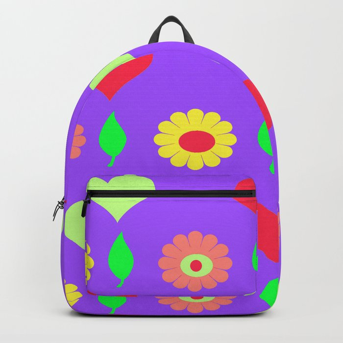 6dc590c777 Purple daisy and heart all over print Backpack by oakendoriginals ...