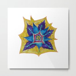 Star Mandala Hand Painet Energy Metal Print