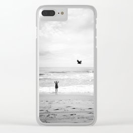 """""""Lonely Beach Bird"""" in Black and White - Holga Photograph Clear iPhone Case"""