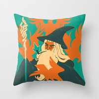 the hobbit Throw Pillows featuring The Hobbit by Greg Wright