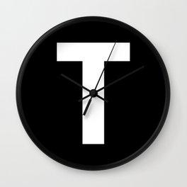Letter T (White & Black) Wall Clock