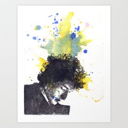 Portrait of Bob Dylan in Color Splash Art Print