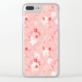 Peach pink Chinese cherry blossom Clear iPhone Case