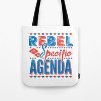 rebel Tote Bags featuring Rebel by Word Quirk