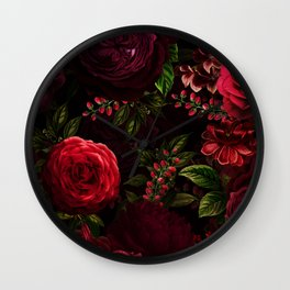 Mystical Night Roses Wall Clock
